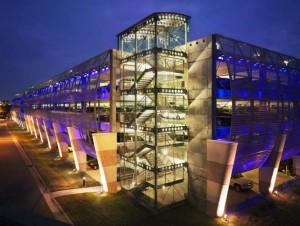 galvanized sag rod assemblies in Charlotte Douglas International Airport parking deck